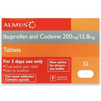 Almus Ibuprofen and Codeine Tablets 200mg/12.8mg (Pack of 32)