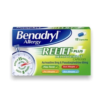Benadryl Relief Plus Capsules (Pack of 12)