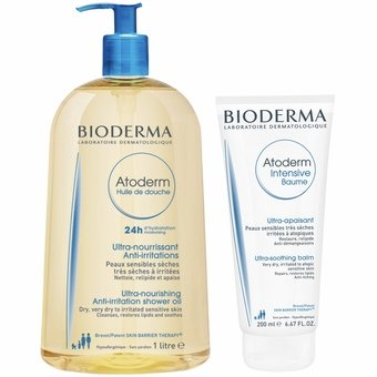 Bioderma Atoderm Shower Oil 1l & Intensive Balm 75ml FREE (Special Offer Set)
