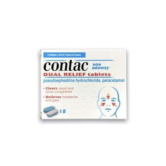 Contac Dual Relief Tablets (Pack of 18)