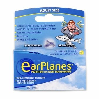 Earplanes Earplugs for Flying - Adult Size (1 Pair)