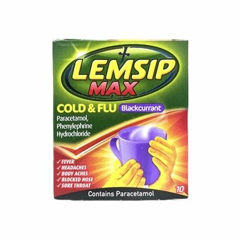 Lemsip Max Cold & Flu Sachets Blackcurrant (Pack of 10)