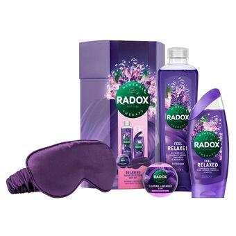Radox Relaxing Sleep Collection Gift Set - Bath Soak, Shower Gel, Bath Bomb, Eye Mask