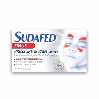 Sudafed Sinus Pressure & Pain Tablets (Pack of 12)