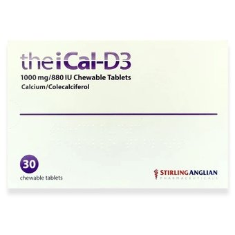 theiCal-D3 1000mg/880 IU Calcium / Colecalciferol - Chewable Tablets (Pack of 30)